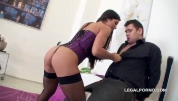 Brunette whore Madison Ivy gets thrusted doggystyle and rides on top